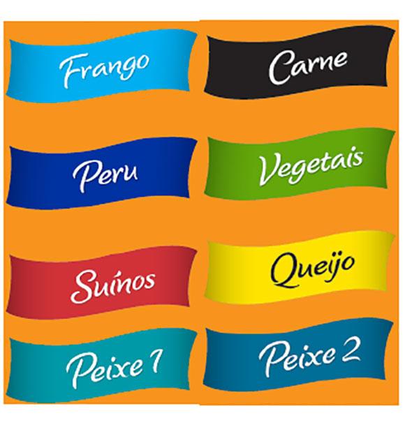 Paleta de cores que ajudam a identificar o tipo de alimento que vem na embalagem