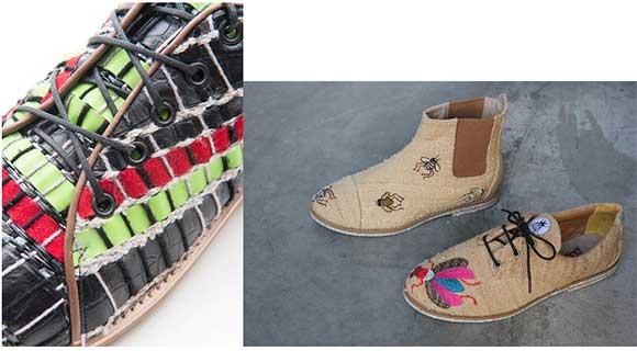 Destaque para os calçados artesanais veganos e calçados desenvolvidos a partir de resíduos de fitas VHS e outros filamentos