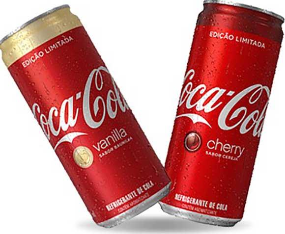 Coca-Cola Vanilla (sabor baunilha) e Coca-Cola Cherry (sabor cereja). terão edição limitada